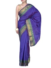 Purple Art Silk Zari Worked Saree - By