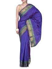 Purple Art Silk Zari Worked Saree - By