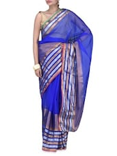 Blue Art Silk Zari Worked Saree - By