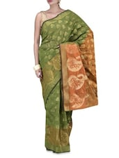 Green Art Silk  Zari Worked Brocade Saree - By