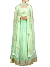green art silk embellished lehenga -  online shopping for lehengas