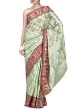Green Art Silk Saree Brocade Saree - By