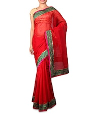 Red Supernet Saree With Patterned Border - INDI WARDROBE