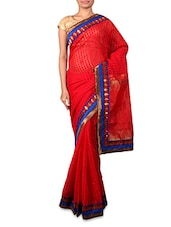 Red Art Silk Saree With Paisley Border - INDI WARDROBE