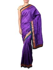 Purple Dupion Silk Saree With Patterned Border - By