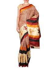 Brown And Beige Printed Art Silk Saree - By
