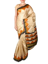 Beige Printed Art Silk Saree - By