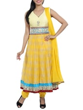 Yellow Embroidered Kora Silk Suit Set - Idha
