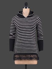 Lace Border Stripped Top With Hood - CAMEY