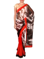 Red And Black Printed Georgette Saree - Inddus