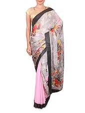 Pink And Grey Printed Georgette Saree - Inddus