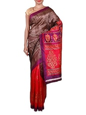 Brown And Pink Printed Cotton Silk Saree - Inddus