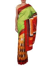 Green Printed Cotton Silk Saree - Inddus