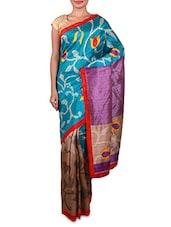 Blue Printed Cotton Silk Saree - Inddus