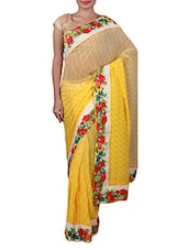 Yellow Floral Printed Georgette Saree - Inddus