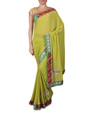 Green Embroidered Georgette Saree - By