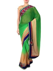 Green Embroidered Georgette Casual Saree - By