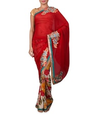 Red Embroidered Designer Georgette Saree - By