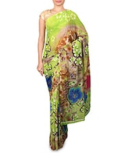 Green Floral Printed Georgette Saree - By - 1177352