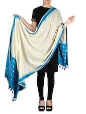 Cream And Blue Ikat Cotton Dupatta - By