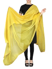 Yellow Silk And Net Dupatta - By
