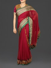 Magenta Embroidered Georgette Saree - By