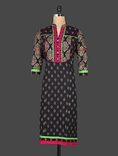Quarter Sleeve Golden Block Printed Kurti - Reet