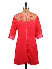 Peach Georgette Embroidered Kurti - By