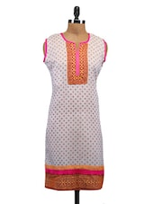 White Cotton Printed Kurti - By