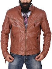brown leather casual jacket -  online shopping for Casual Jacket
