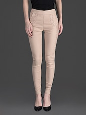 Solid Color Laced Pocket High Waist Beige Leggings - By