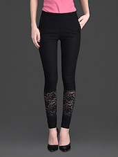 Solid Color Lacy Bottom High Waist Black Legging - 10th Planet