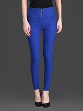 Solid Color Zip Opening High Waist Blue Legging - By