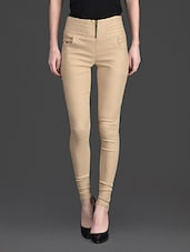 Solid Color Zip Opening High Waist Beige Jeggings - 10th Planet