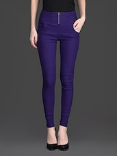 Solid Color Zip Opening High Waist Purple Legging - 10th Planet