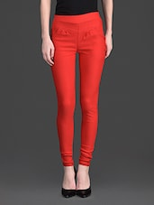 Solid Color Elastic High Waist Red Legging - 10th Planet