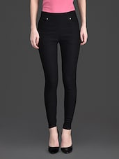 Solid Color Pocket High Waist Black Legging - 10th Planet