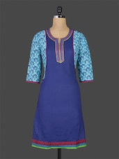 Royal Blue Printed Quarter Sleeved Cotton Kurti - Purvahi