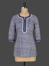 Navy Blue Printed Cotton Short Kurti - By