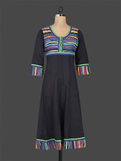 Black Flared Round-neck Cotton Kurta - Purvahi
