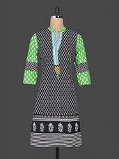 Black Floral Printed Cotton Kurta - Purvahi
