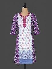 Purple And White Printed Cotton Kurta - Purvahi