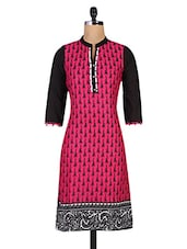 Printed Fuchsia Cotton Kurta - By