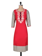 Red Printed Embroidered Cotton Long Kurti - Vasudha