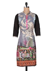 Multicolour Printed Cotton Kurti With Quarter Sleeves - Vasudha