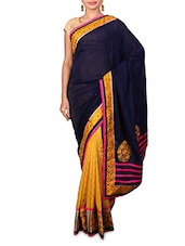 Blue Embroidered Georgette Jacquard Saree - By