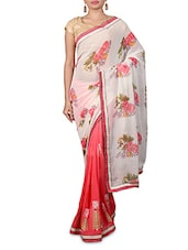 White Embroidered Printed Georgette Saree - By