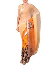 Beige Embroidered Printed Chiffon Satin Saree - By