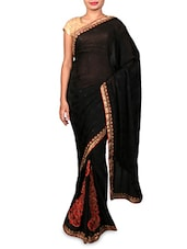 Black Embroidered Silk Crepe Jacquard Saree - By