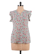 Multicoloured Floral Print Georgette Top - By